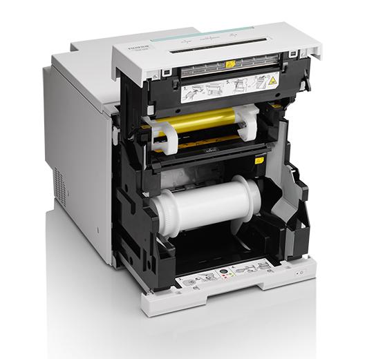 [photo] 리본과 빈 용지 롤을 보여주는 개방된 프린터