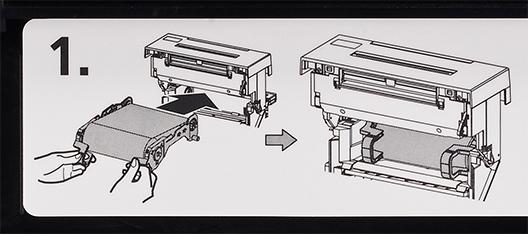 [image] 리본을 프린터에 재적재하는 손