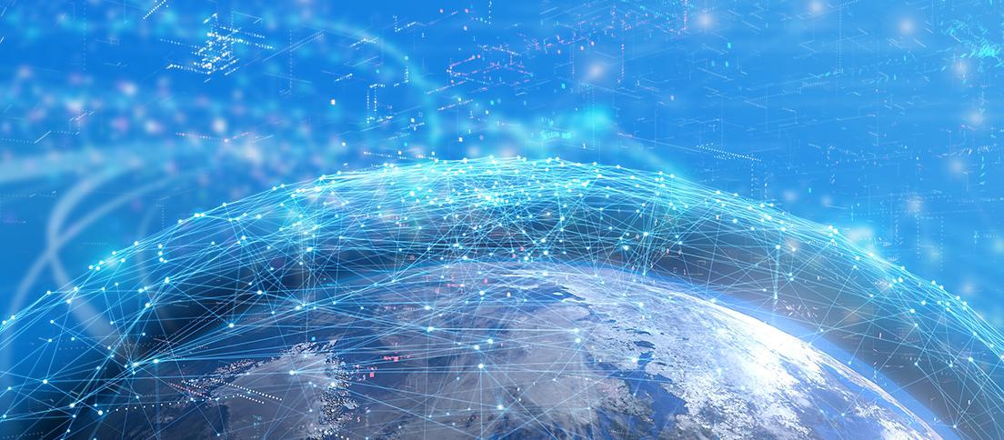 [image] 파란색으로 얽혀 네트워크를 형성하는 연결 지점이 있는 지구의 곡면
