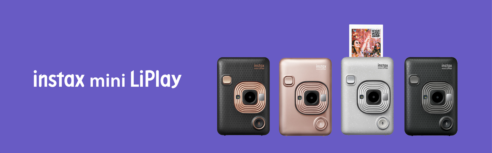 [photo] 4 Instax Mini LiPlay in Elegant Black, Blush Gold, Stone White, Dark Gray with a Instax mini LiPlay on a purple background