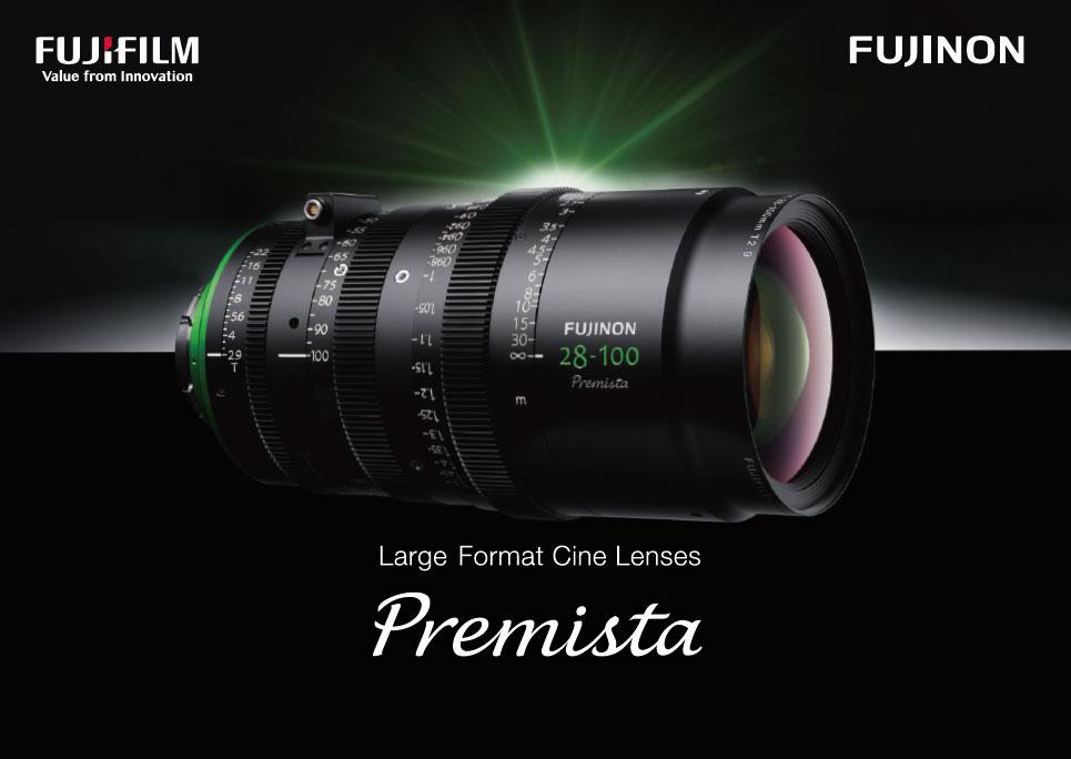 [사진] 녹색 로고가 새겨진 FUJINON 28-100 라지 포맷 시네 렌즈의 전체 모습