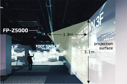 [사진] 1.9미터 x 3.1미터 투사 거리를 통한 FP-Z5000의 역동적인 투사