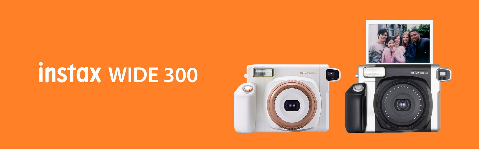 [photo] Instax WIDE 300 camera in Black and Toffee colors on an orange background with a title