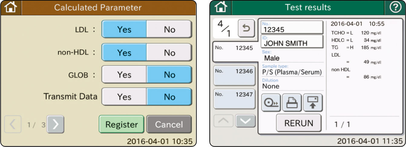 [image] Calculated Parameter settings screen with Yes/No options and test results screen with list of measurements labeled by patient name