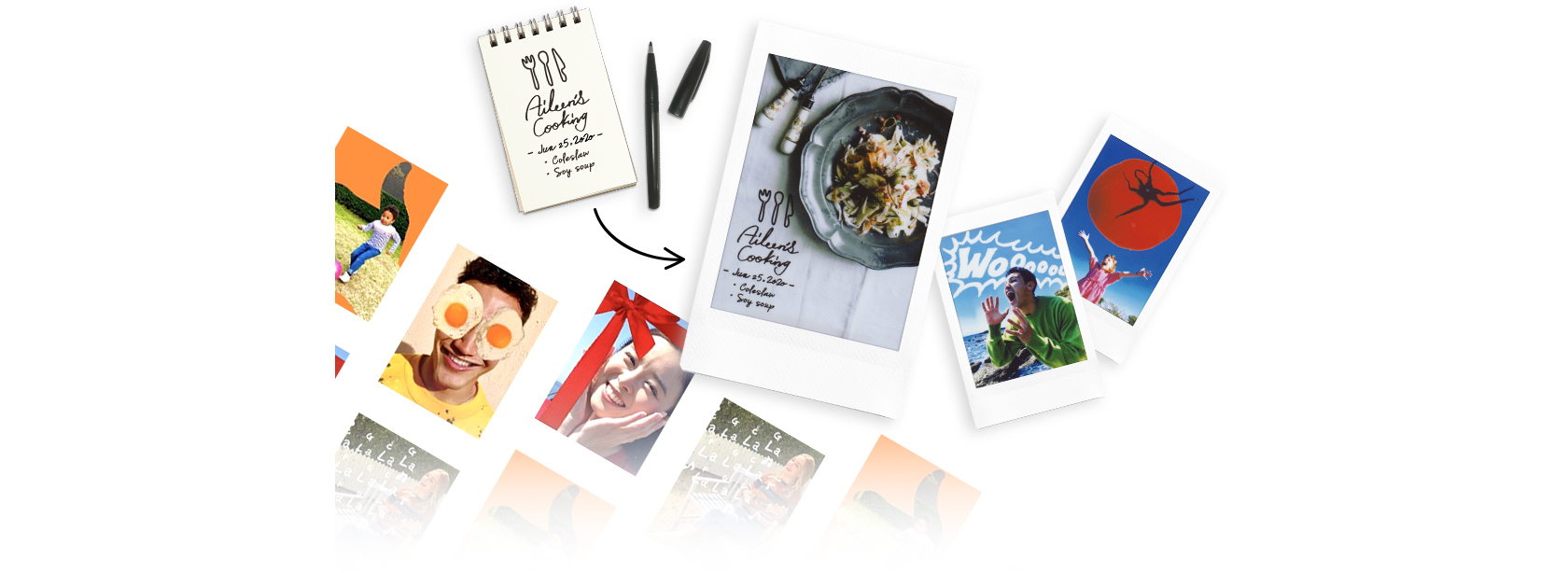 [photo] Various, colorful photos spread out on table and text added to photo prints