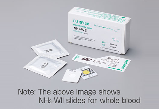 [photo] NH3-WII slides box with a Note: The above image shows NH3-WII slides for whole blood