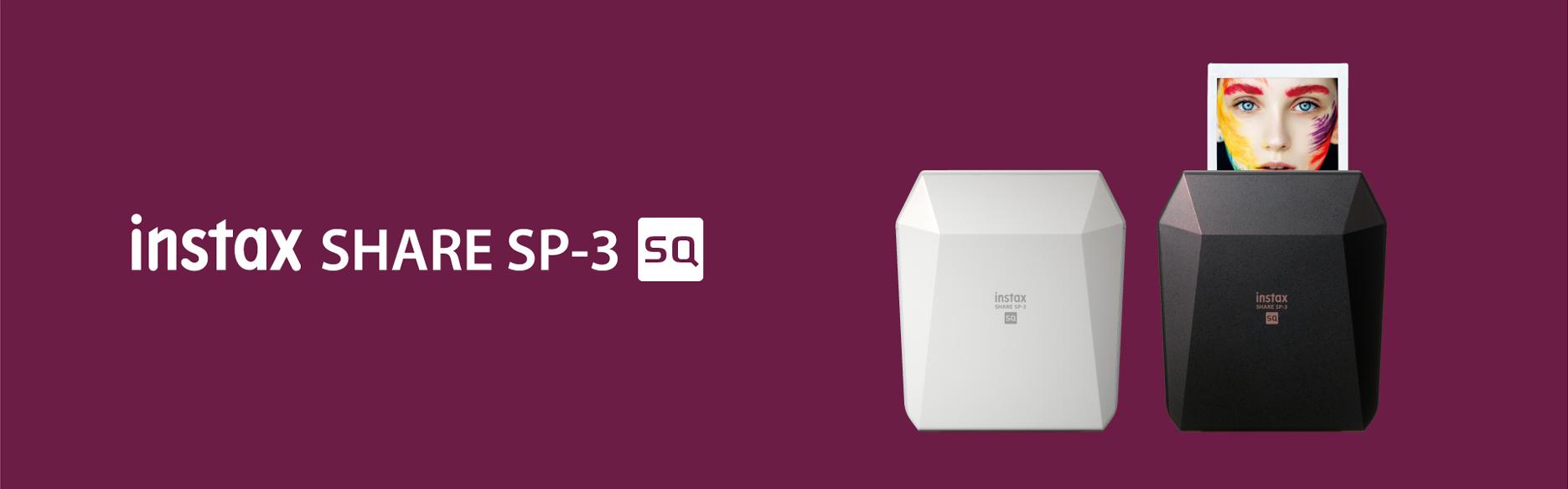 [photo] 화이트 로고가 있는 퍼플 바탕에 화이트 및 블랙 색상의 인스탁스 쉐어 SP-3