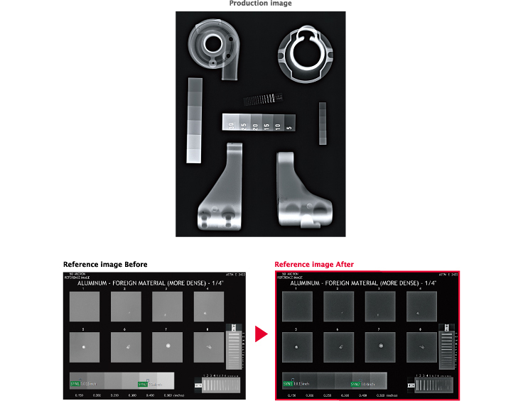 [image] Software screenshots of the production image and before and after reference images in red
