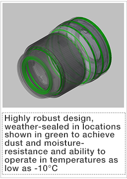 [Image]Highly robust design, weather-sealed in locations shown in green to achieve dust and moisture-resistance and ability to operate in temperatures as low as -10°C