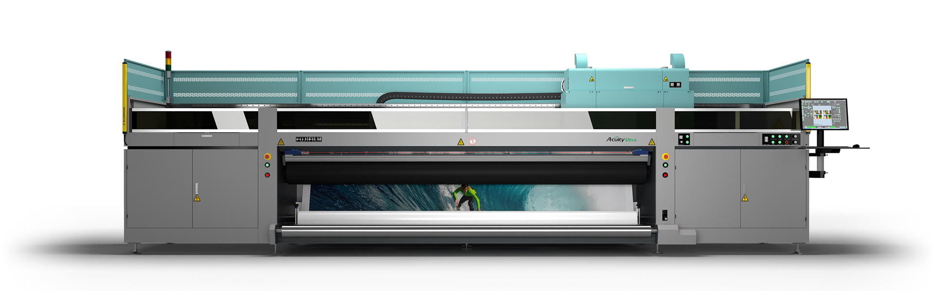 [photo] Full-length side-view of industrial-sized Wide Format UV Inkjet System