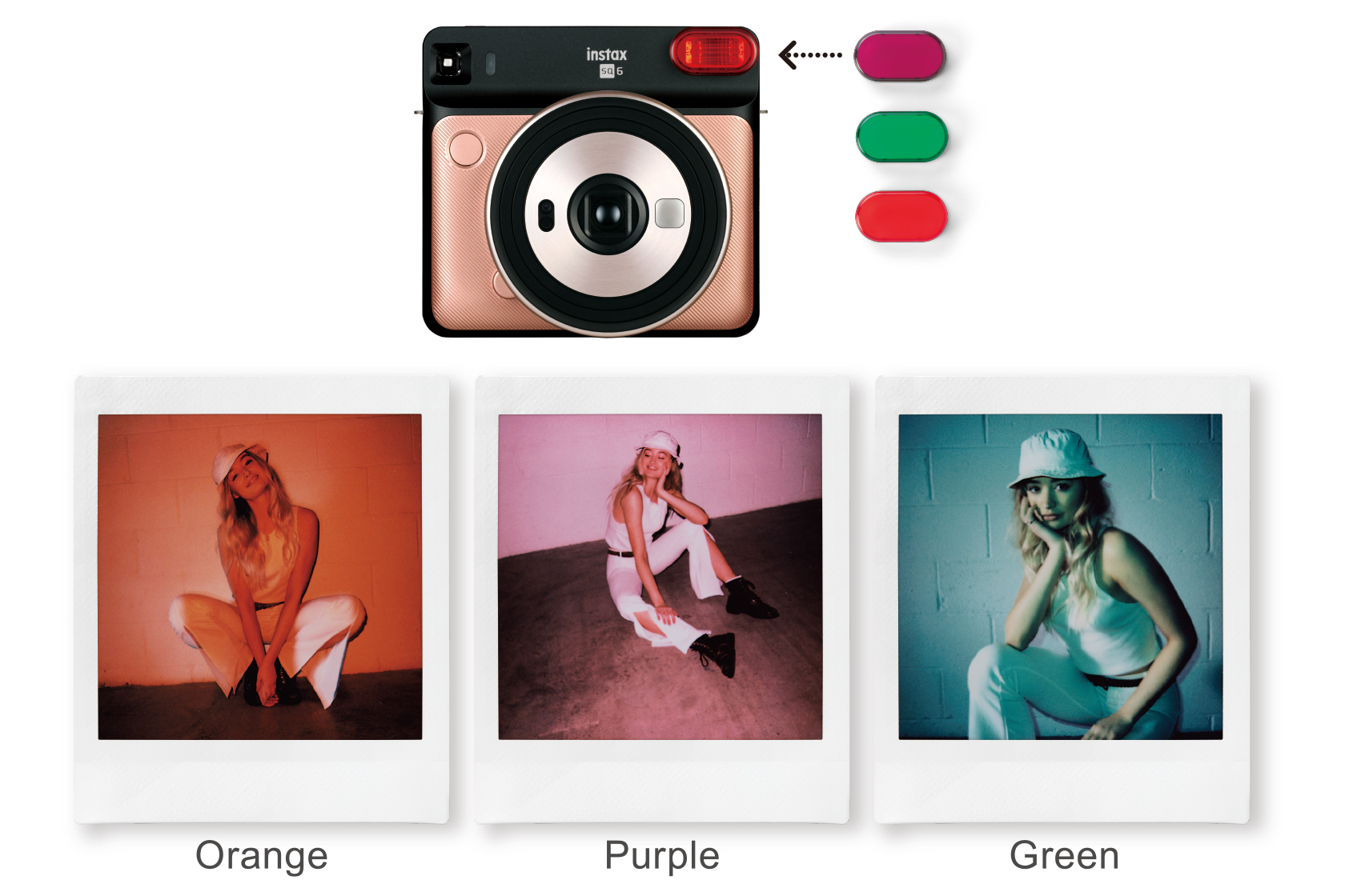 [photo] 3 Sample photo of the flash color filters (orange, purple, green) attachments for Instax SQUARE SQ6