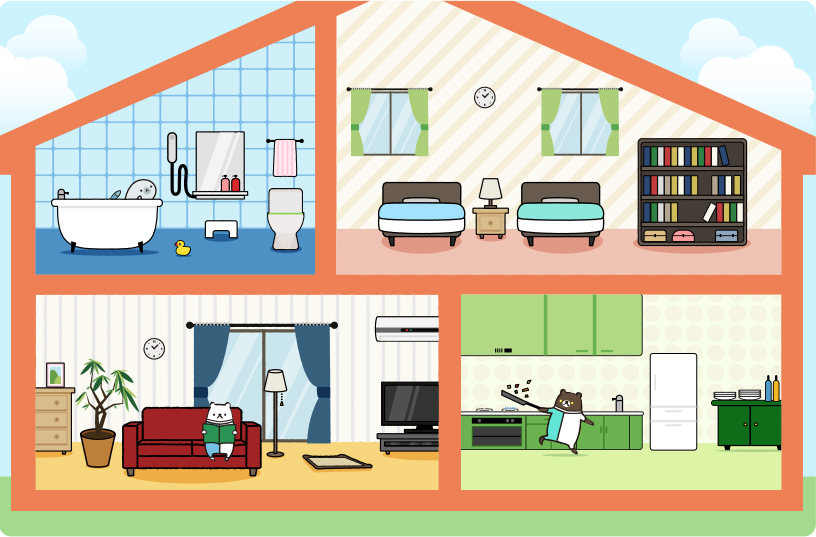 [image] Cartoon house with all rooms (top and bottom floors) in a dollhouse style view and cartoon bear in living room, in kitchen, and cartoon otter in bathtub