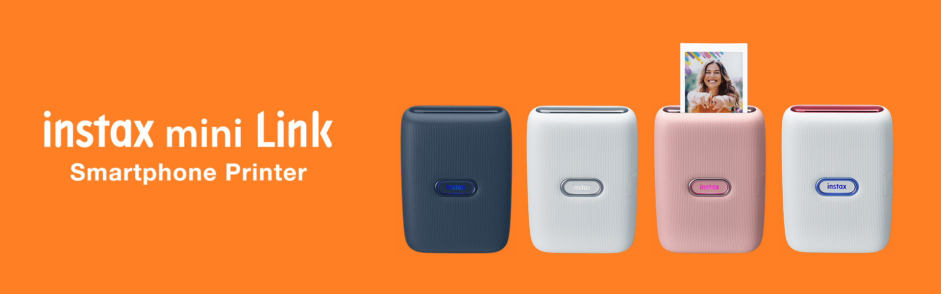 [photo] Three instax mini Link printers in Dark Denim, Ash White, and Dusky Pink colors