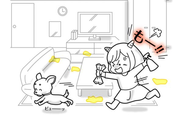 [image] Sketch of angry girl holding spray bottle and rag, shouting and chasing dog across living room