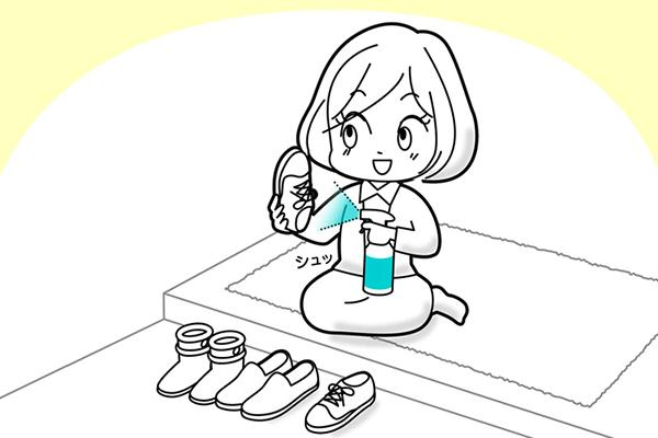 [image] Sketch of girl sitting down on floor and spraying cleaner on different pairs of shoes