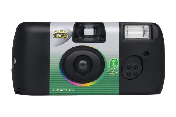 [photo] Quicksnap Flash camera in black with a gray background