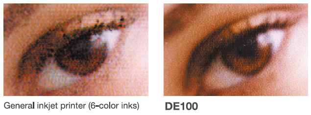 [image] Smooth and sharp print image quality of DE100 versus blurry image of eye from general inkjet printer