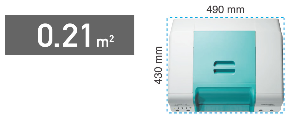 [image] Top view of DE100 and footprint of 0.21 meters squared