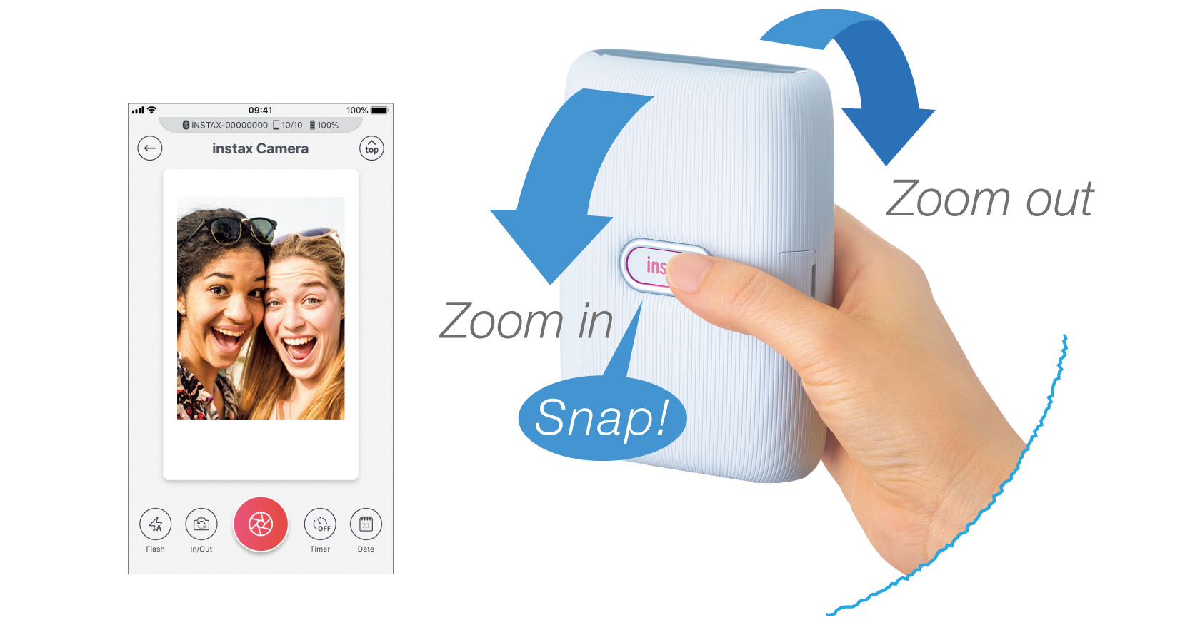 [photo] Hand tilting printer forward and backward to zoom in or zoom out and pressing instax button to take photo
