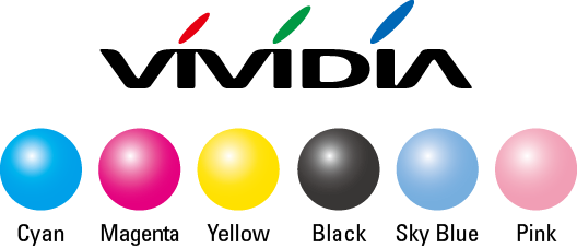 [logo] VIVIDIA and color spheres of Cyan, Magenta, Yellow, Black, Sky Blue, and Pink
