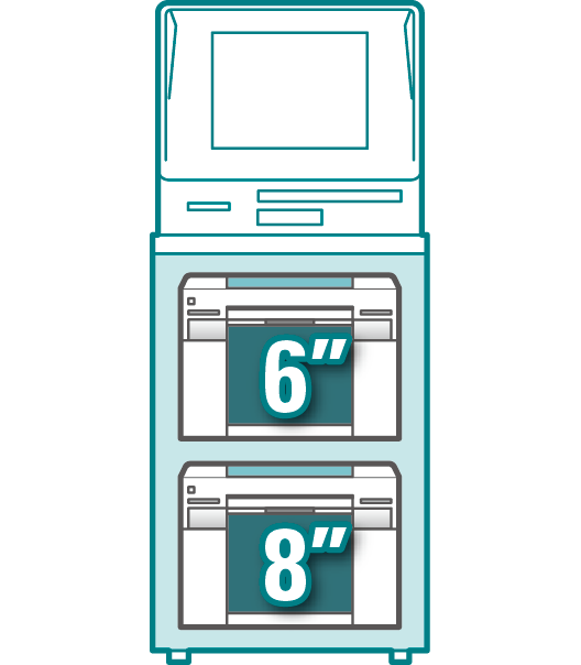 [image] Dual unit Kiosk system configuration with 6 inch printer stacked on top of 8 inch