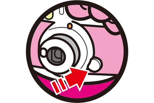 [image] Close up clipart of the power button beside the Instax mini Hello Kitty lens