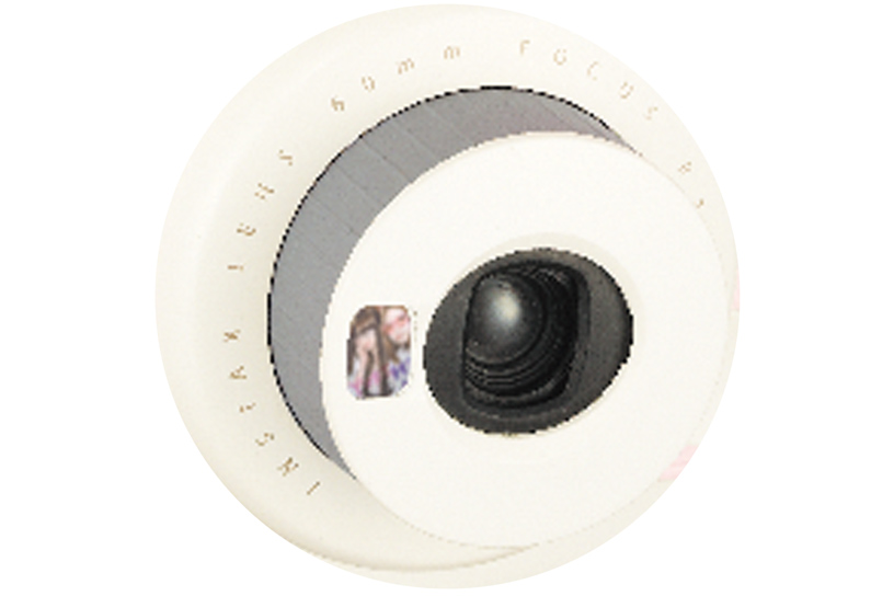 [photo] Close up of the Instax Mini Hello Kitty lens with the self portrait mirror