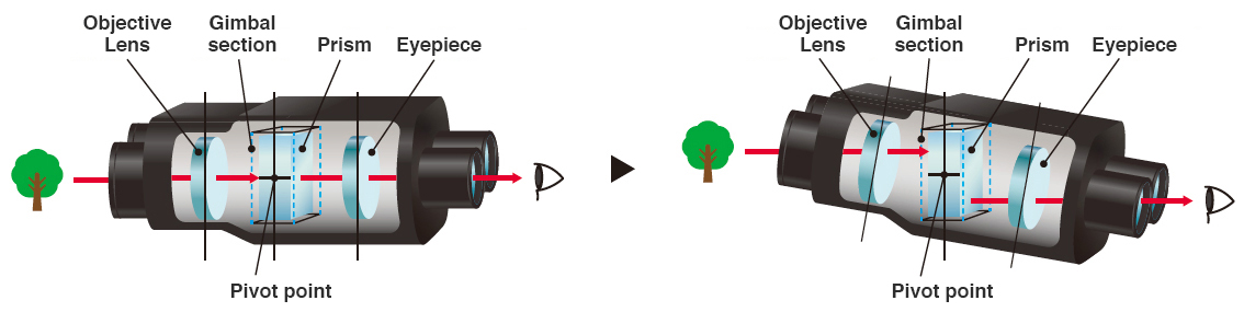 [image] Arrow of light passing through binoculars and being corrected in gimbal section, even at an angle