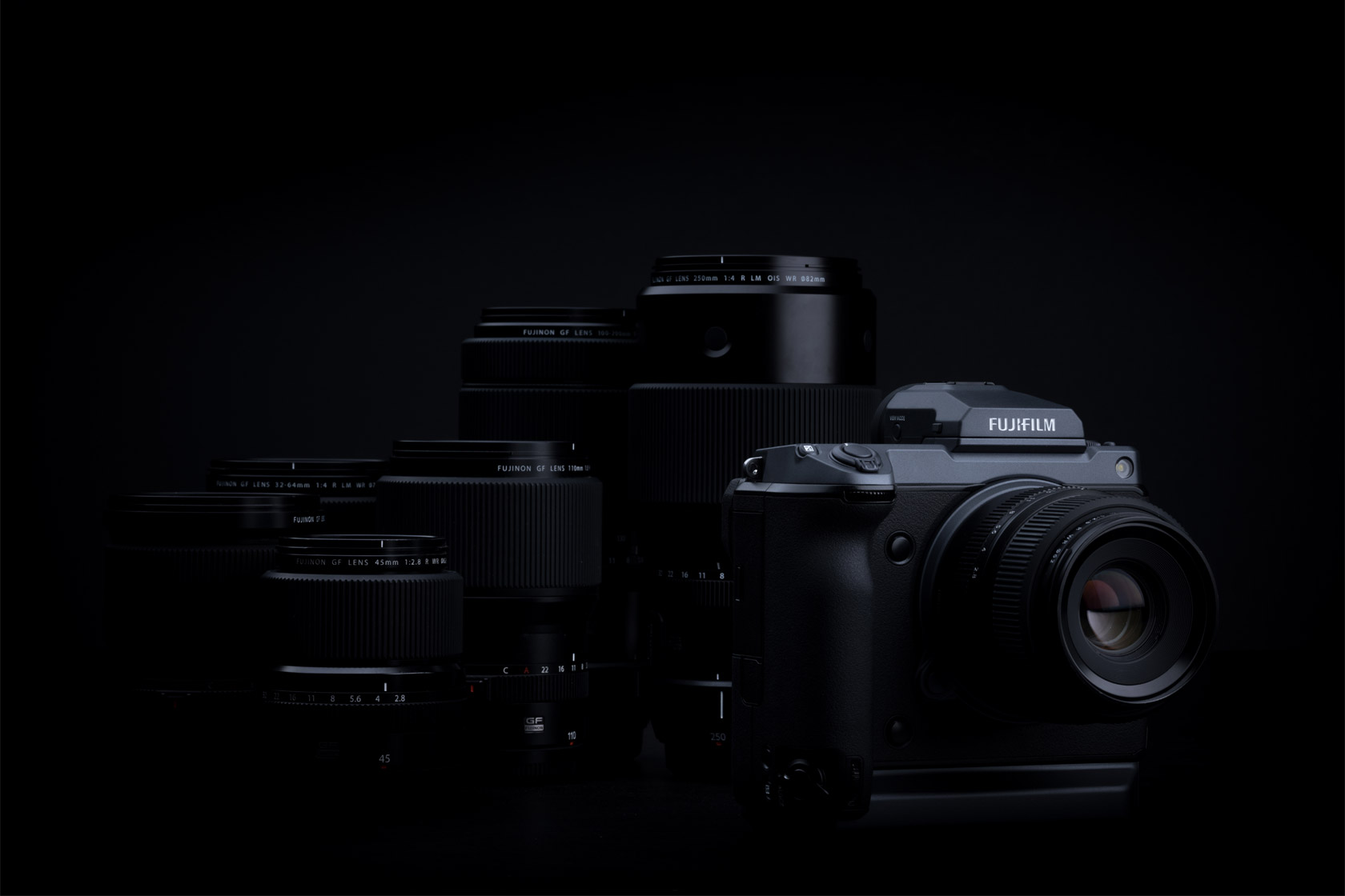 [photo] Fujifilm GFX camera in front of compatible lenses