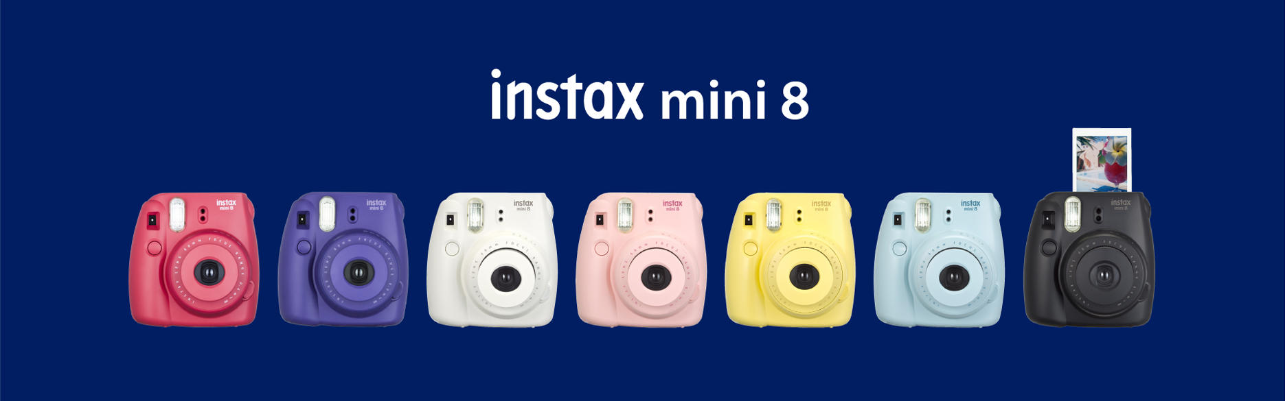 [photo] Instax Mini 8 cameras in rasberry, grape, white, pink, yellow, blue and black with a dark blue background