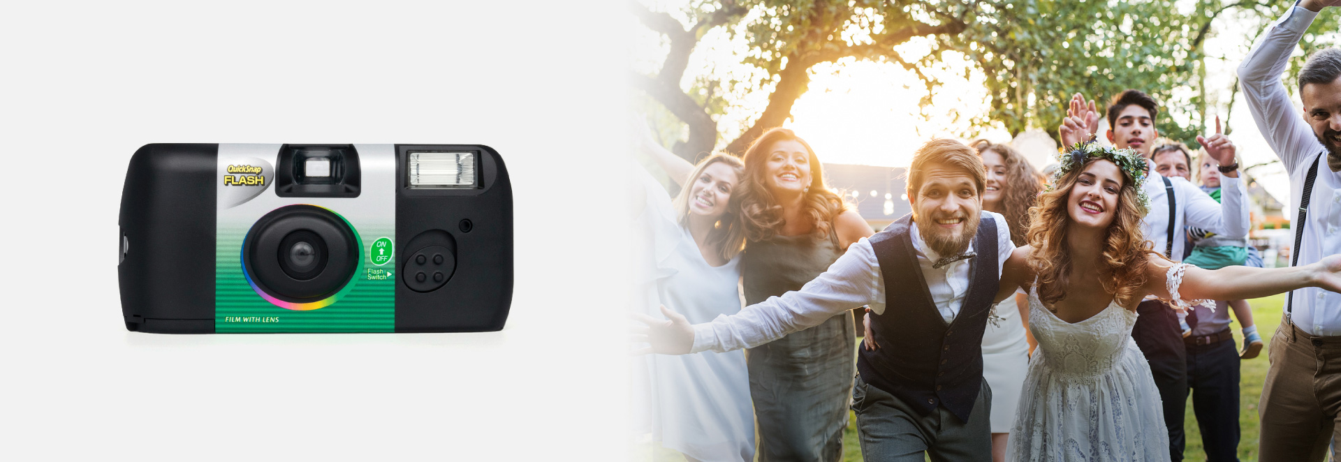 [photo] Quicksnap Flash on the left and a wedding party group picture on the right