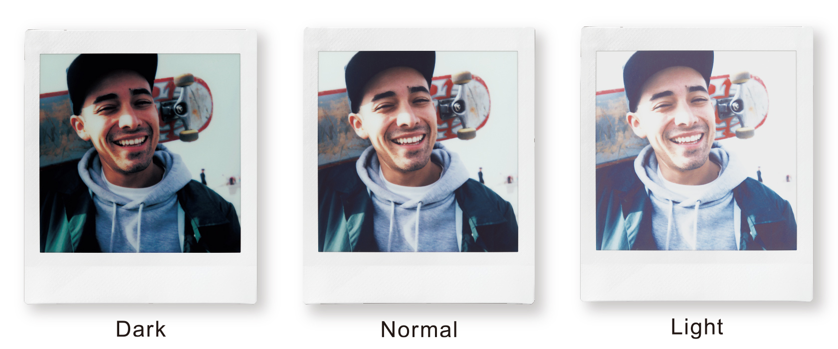 [photo] 3 different sample photos of a man smiling showing the light/dark mode feature on the Instax SQUARE SQ6