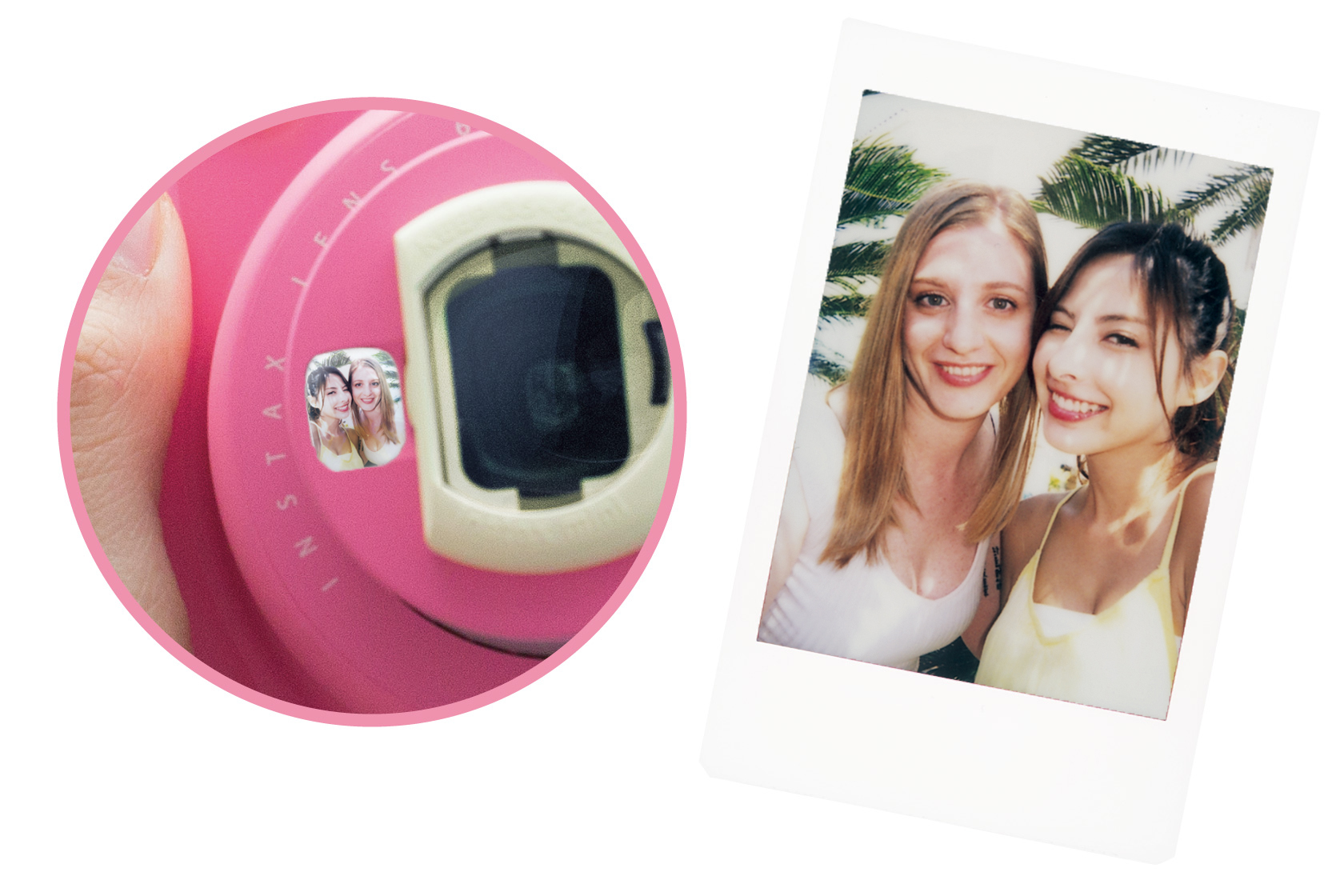 [photo] Close-up of front mirror of the Instax Mini 9 in pink