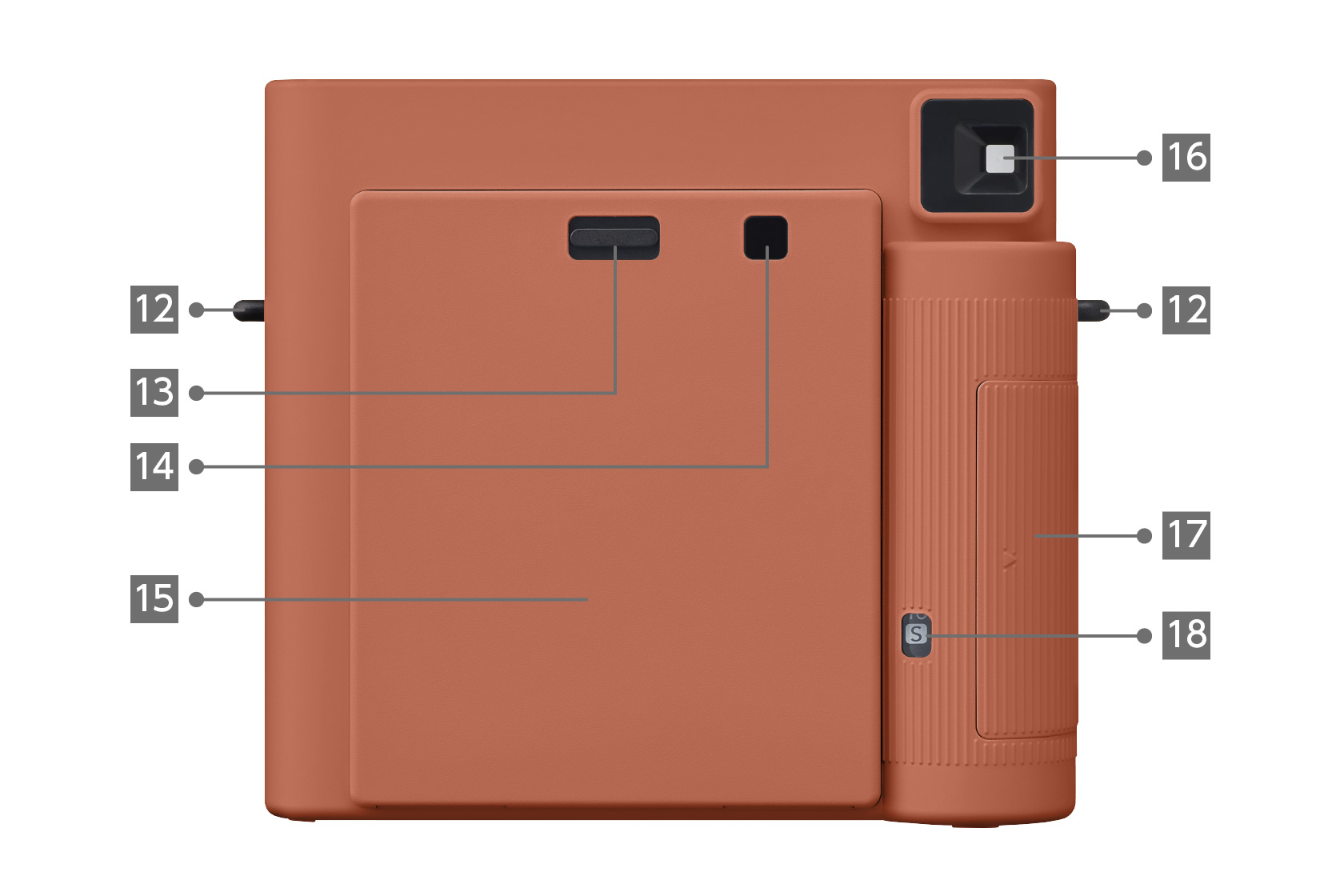 [photo] INSTAX SQUARE SQ1 camera in Terracotta Orange color, Back view