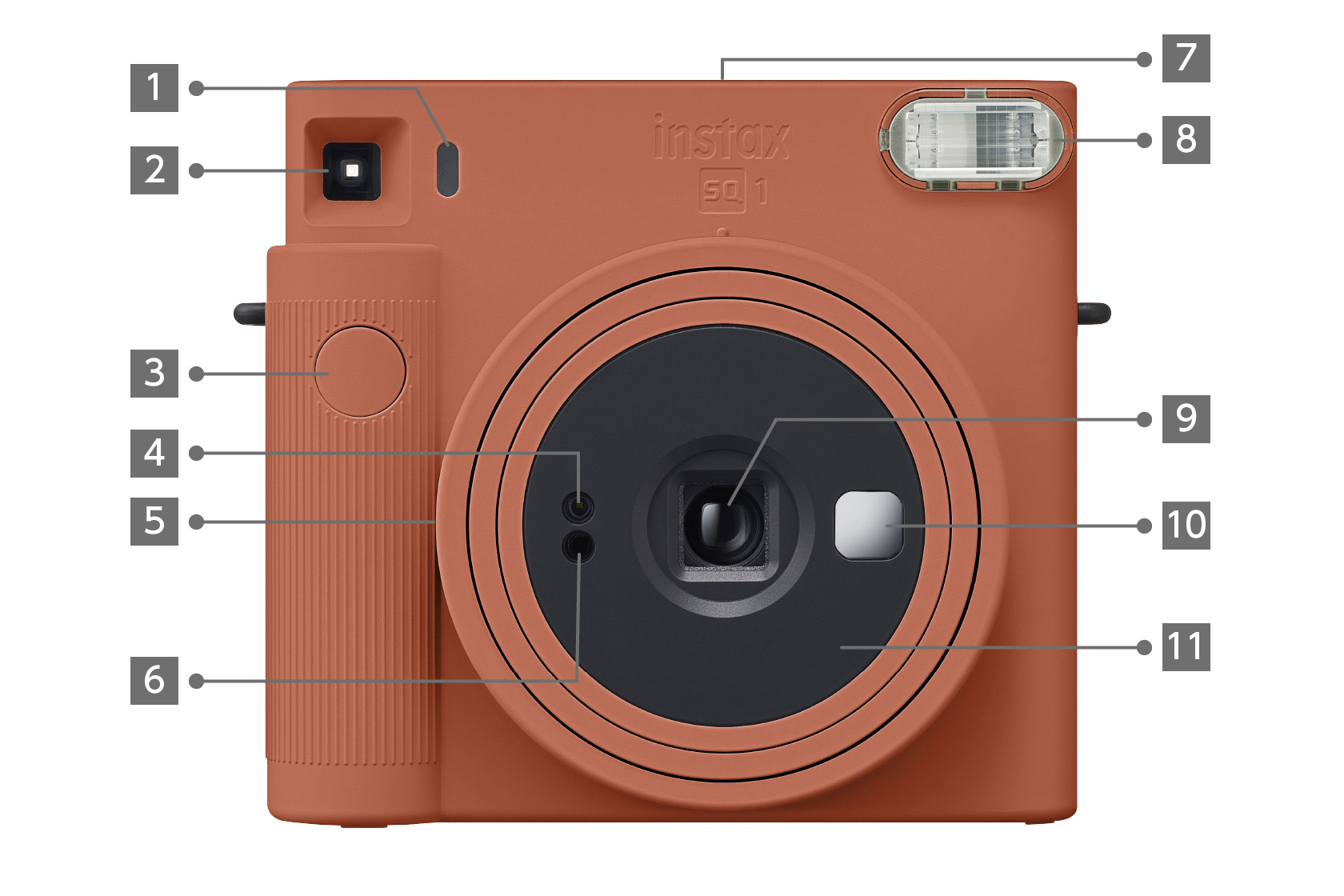 [photo] INSTAX SQUARE SQ1 camera in Terracotta Orange color, Front view