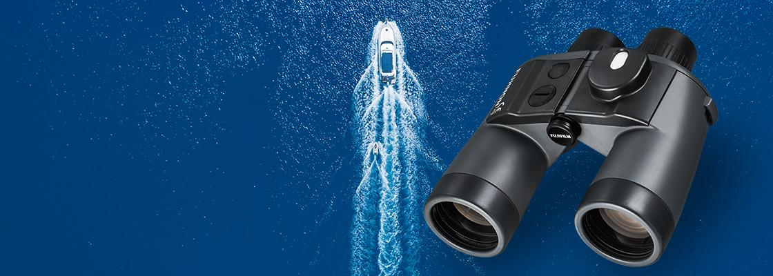[photo] Mariner Series Binocular with an aerial view of a speedboat on the ocean background