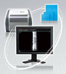 [obraz] Monitor komputerowy z oprogramowaniem do obrazowania, drukarką i stosem zdjęć
