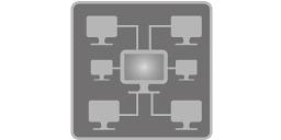 [obraz] Sieć komputerowa składająca się z 6 komputerów łączących się z serwerem głównym