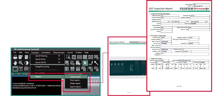 [obraz] Zrzuty ekranu dotyczące tworzenia raportu za pomocą pozycji menu Create a report (Utwórz raport) oraz kolejnego ekranu i przykładowego raportu zaznaczonego na czerwono