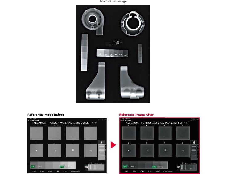 [obraz] Zrzuty ekranu oprogramowania obrazu produkcyjnego oraz obrazy referencyjne przed i po w kolorze czerwonym