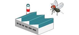 [obraz] Kreskówkowe muchy latające nad budynkiem fabryki