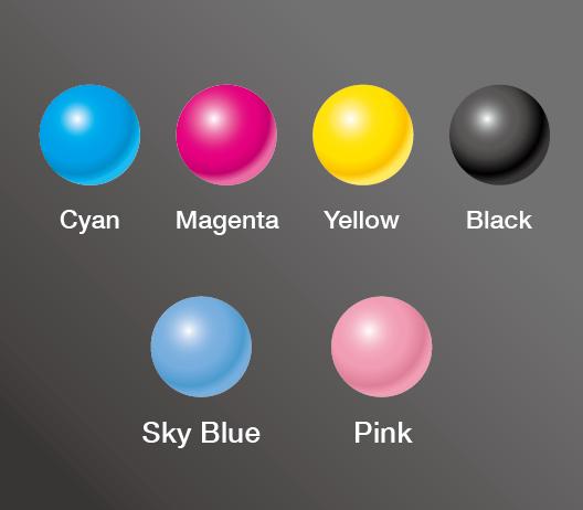 Ciano / Magenta / Amarelo / Preto / Azul céu / Rosa