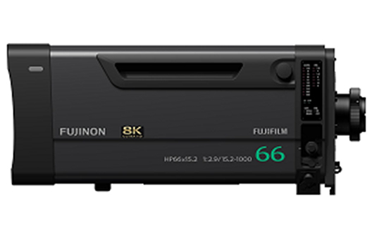 """8K-compatible broadcast zoom lens  """"FUJINON HP66×15.2-ESM"""""""