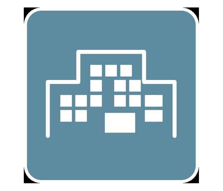 [imagem] Desenho digital com descrição do edifício empresarial em fundo de cor azul-petróleo