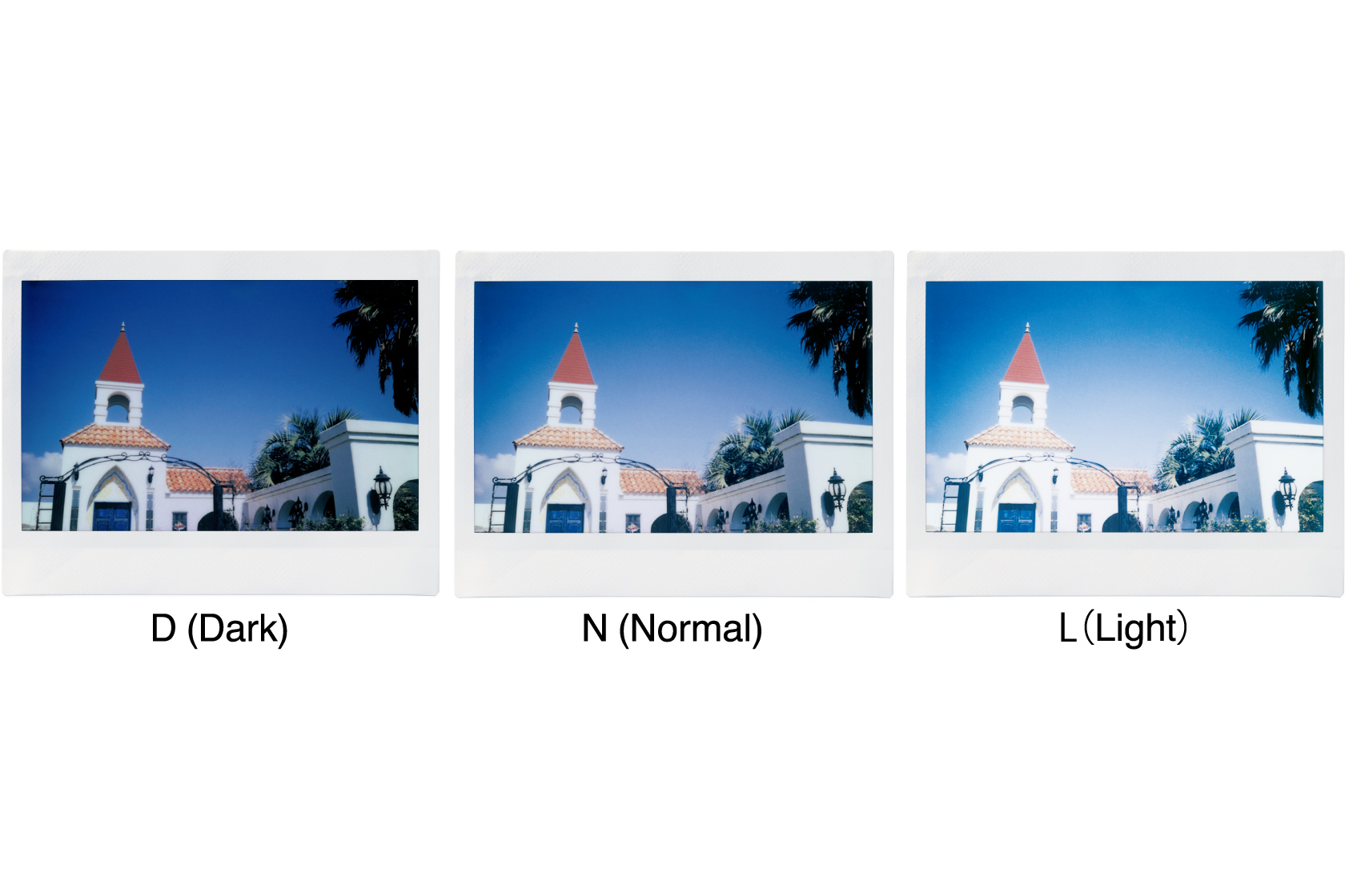 [photo] Sample photos of a building in Dark, Normal and Light exposure modes of the Instax WIDE 300 camera