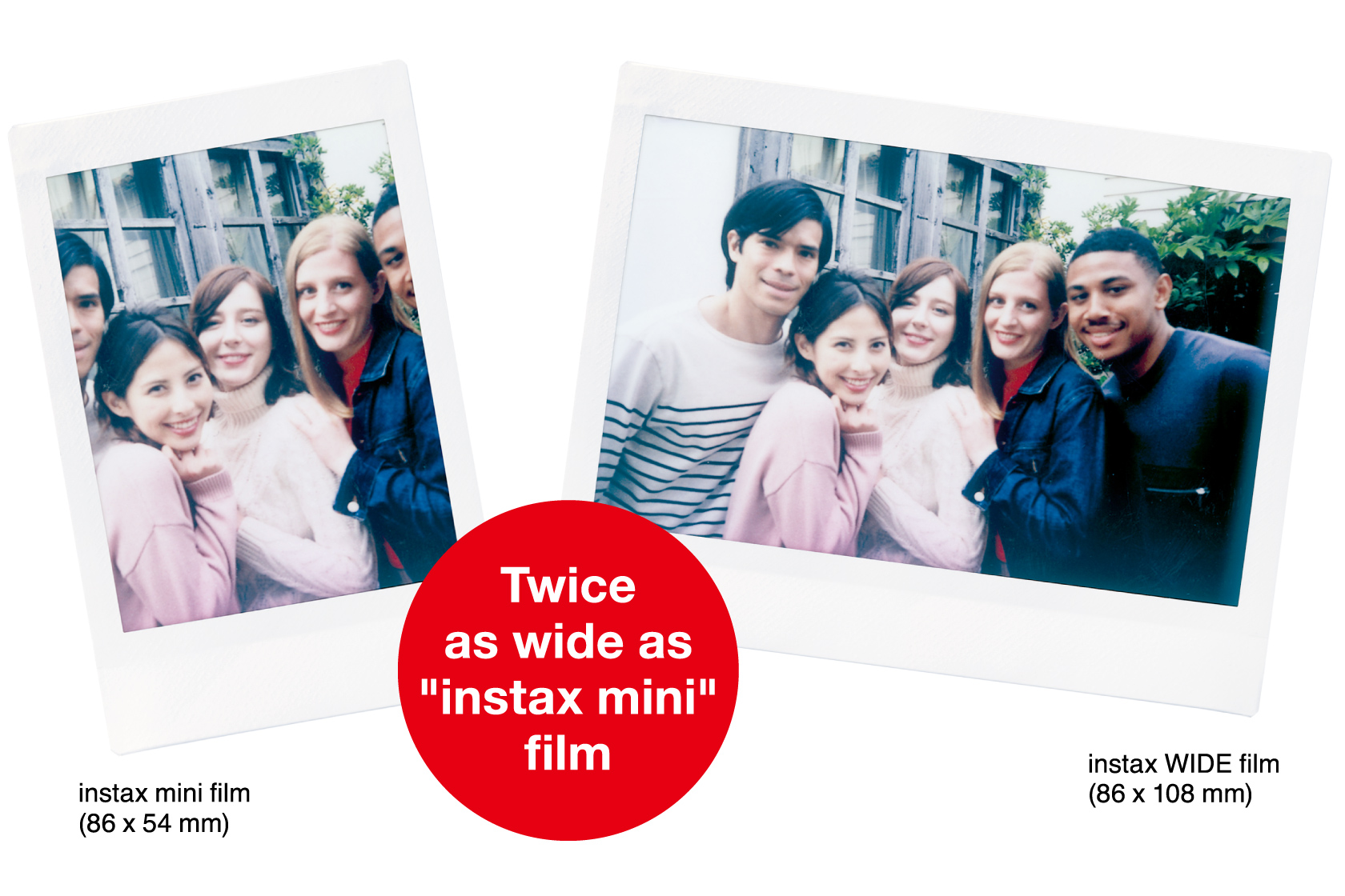 "[photo] Comparison photos of Instax Wide 300 photo prints and Instax Mini photo prints with ""twice as wide as instax mini"" text"