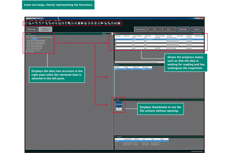 [image] Software Screenshot with functions icons, data tree structure, progress and inspection status and display thumbnails sections highlighted in red.
