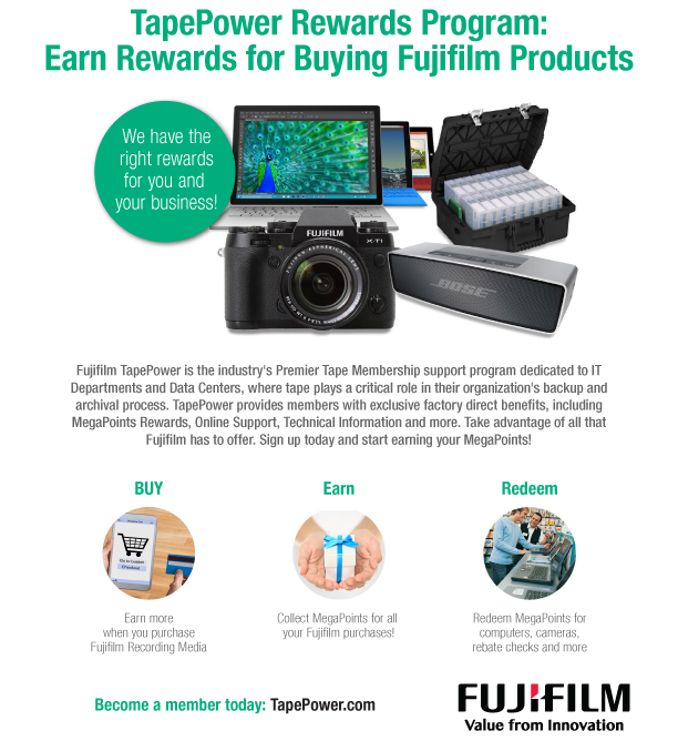В программе TapePower предоставляются бонусы за продукцию Fujfilm