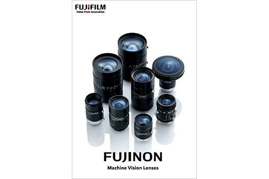 [image] Brochure cover - Group of various models of FUJINON Machine Vision Lenses standing upright