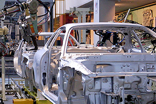 [photo] Steel frame of a car on a car assembly plant